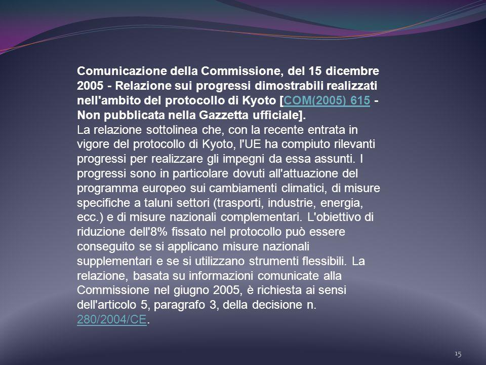 Comunicazione della Commissione, del 15 dicembre 2005 - Relazione sui progressi dimostrabili realizzati nell ambito del protocollo di Kyoto [COM(2005) 615 - Non pubblicata nella Gazzetta ufficiale].
